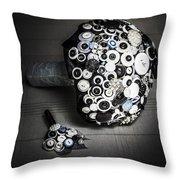Modern Button Design Wedding Bouquet Throw Pillow