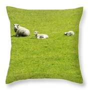 Mom And Kids Throw Pillow