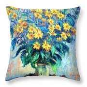 Monet's Jerusalem  Artichoke Flowers Throw Pillow