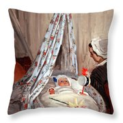 Monet's The Cradle -- Camille With Artist's Son Jean Throw Pillow