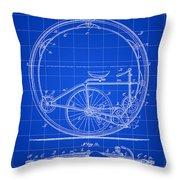 Monocycle Patent 1894 - Blue Throw Pillow