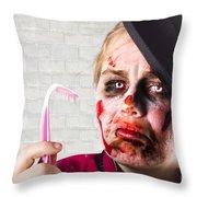 Monster Holding Sad Toothbrush. Rotting Teeth Throw Pillow