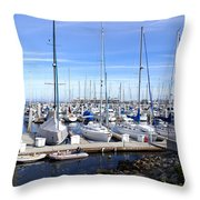 Monterey Harbor California Throw Pillow