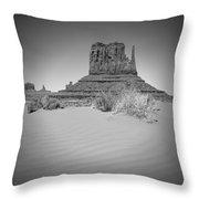 Monument Valley - West Mitten Butte Bw Throw Pillow