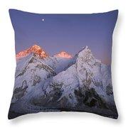 Moon Over Mount Everest Summit Throw Pillow