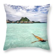 Moorea Woman Floating Throw Pillow