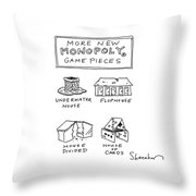 More New Monopoly Game Pieces Throw Pillow
