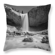 Mossy Cave Waterfall Bw Throw Pillow
