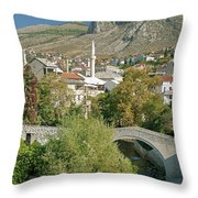 Mostar In Bosnia Herzegovina Throw Pillow