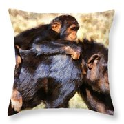 Mother Chimpanzee With Baby On Her Back Throw Pillow