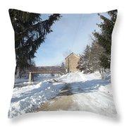 Motor Mill Winter Throw Pillow