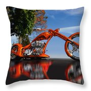 Motorcycle Reflections Throw Pillow