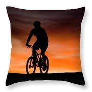 Mountain Biker At Sunset, Moab, Utah Throw Pillow