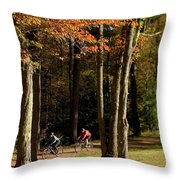 Mountain Bikers Ride In New Gloucester Throw Pillow