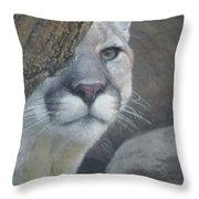 Mountain Lion Painterly Throw Pillow