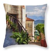 Mountain Village Impasto Throw Pillow