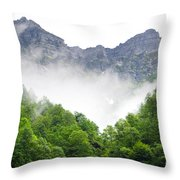 Mountain With Clouds Throw Pillow