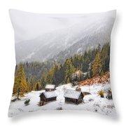 Mountain With Snow Throw Pillow