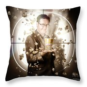 Movie Man Holding Cinema Popcorn Bucket At Film Throw Pillow