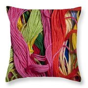 Multicolored Embroidery Thread Mixed Up  Throw Pillow