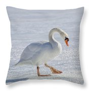 Mute Swan On St Clair River Throw Pillow