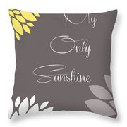 My Only Sunshine Peony Flowers Throw Pillow