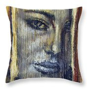 Mysterious Girl Face Portrait - Painting On The Wood Throw Pillow
