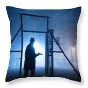 Mysterious Man With Pistol Ballpark Night Fog Throw Pillow