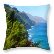 Na Pali Coast Kauai Throw Pillow