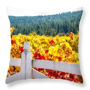 Napa Fall Grapes Throw Pillow