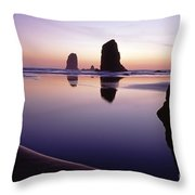 Needles Silhouetted Cannon Beach Oregon Throw Pillow