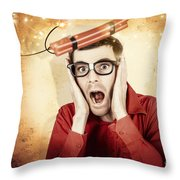 Nerd Business Man Shouting Out In Fear Of A Bomb Throw Pillow