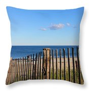 New England Beach Past A Fence Throw Pillow