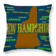 New Hampshire State Pride Map Silhouette  Throw Pillow
