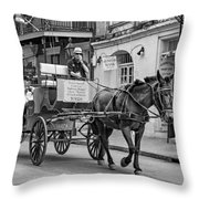 New Orleans - Carriage Ride Bw Throw Pillow