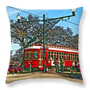 New Orleans Streetcar Painted Throw Pillow
