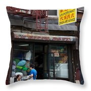 New York Chinese Laundromat Sign Throw Pillow
