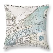 New York City Map, 1728 Throw Pillow