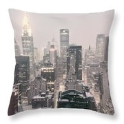 New York City - Snow Covered Skyline Throw Pillow by Vivienne Gucwa