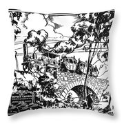 New York Locomotive, 1831 Throw Pillow