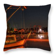 Night In The Harbor Throw Pillow
