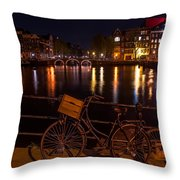 Night Lights On The Amsterdam Canals. Holland Throw Pillow