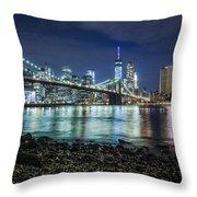 Night View To Manhattan Throw Pillow