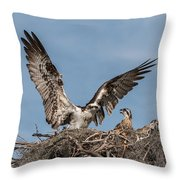 Osprey Arriving Home Throw Pillow