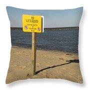 No Lifeguard Sign At Sandy Point Throw Pillow