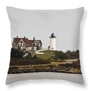 Nobska Lighthouse Throw Pillow