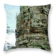 North Gate Of Angkor Thom In Angkor Wat Archeological Park-cambodia Throw Pillow