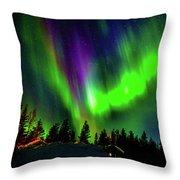 Northern Lights, Lapland, Sweden Throw Pillow