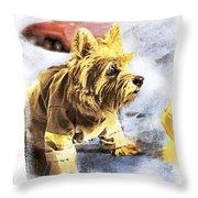 Norwich Terrier Fire Dog Throw Pillow