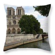Notre Dame Along The Seine Throw Pillow
